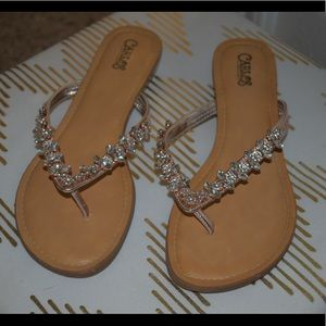 Rose gold sparkly sandals
